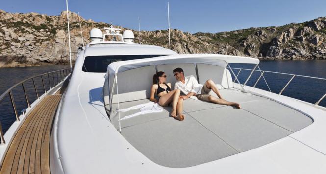 Relaxing aboard Mangusta 92 yacht