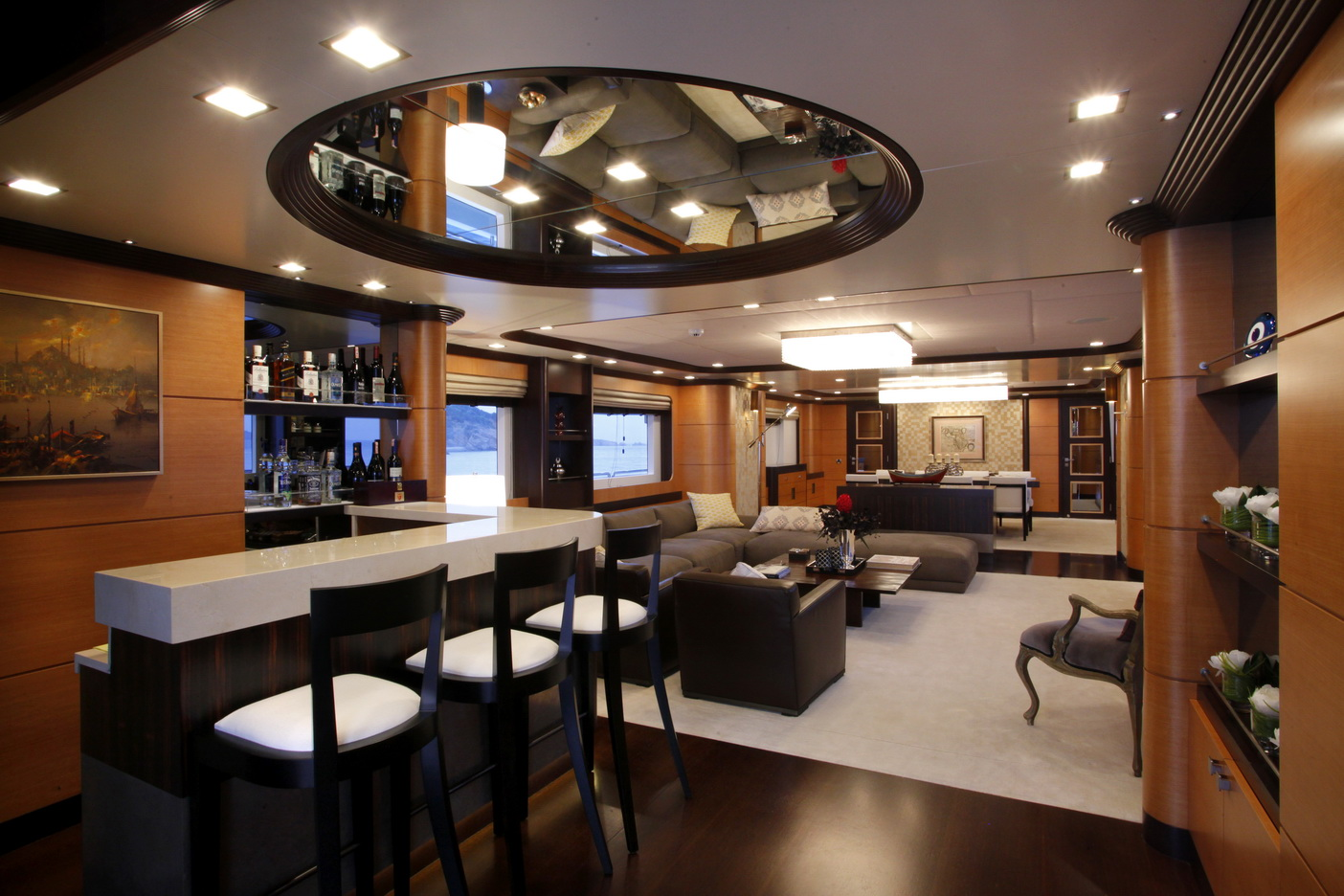 serenity ii superyacht salon and bar luxury yacht charter superyacht news. Black Bedroom Furniture Sets. Home Design Ideas