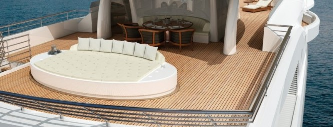 Superyacht Amels 199 Wide private beach for sunning and socializing