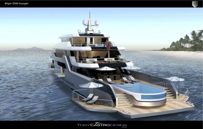 Superyacht Voyager 170' by Bilgin Yachts and Tony Castro - aft view