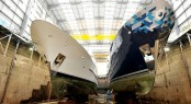 Superyachts Audacia and Dardanella in dock -  Image courtesy of Pendennis