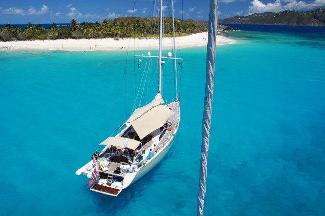 Swan 66 - sailing yacht Godot enjoying the day off Sandy Cay in the British Virgin Islands (c) Nautor's Swan & Yacht Shots BVI