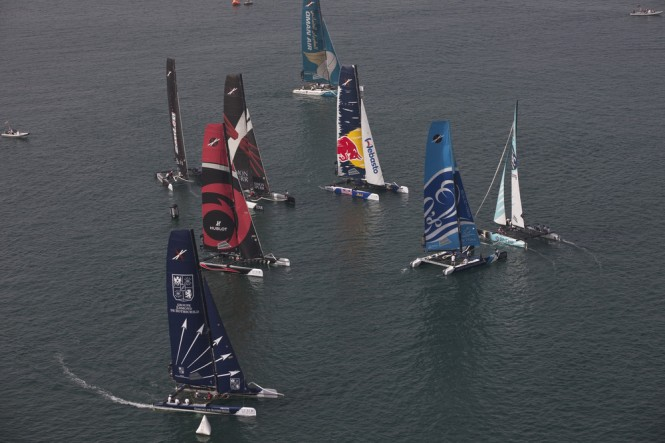 The fleet racing through a gate in light airs on day 4 Credit Lloyd Images