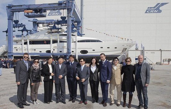 The launch of the Ferretti Custom Line 112 motor yacht NEXT