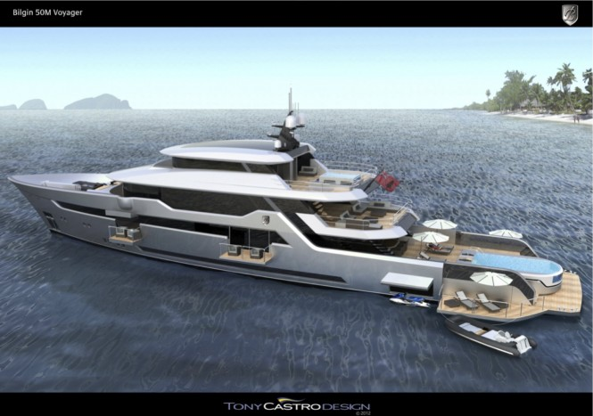 Tony Castro designed 52m superyacht Bilgin Voyager 170' - side view open
