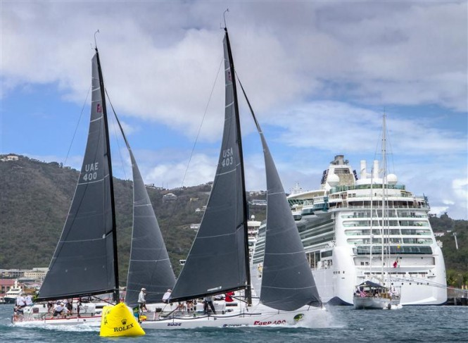 Yachts MAGNITUDE 400 and BLADE in downtown Charlotte Amalie Photo by Rolex Ingrid Abery