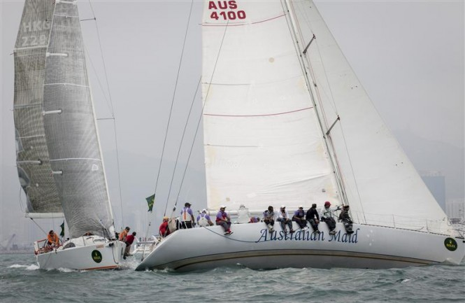 AUSTRALIAN MAID and SELL SIDE DREAM at the start of the Rolex China Sea Race Photo by RolexDaniel Forster