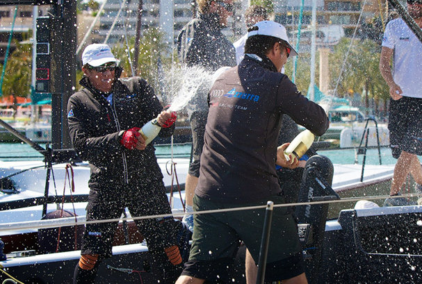 Audi Azzurra Sailing Team celebrating their victory