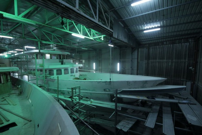 Bilgin Classic 160 yacht under construction at Bilgin Yachts in Turkey