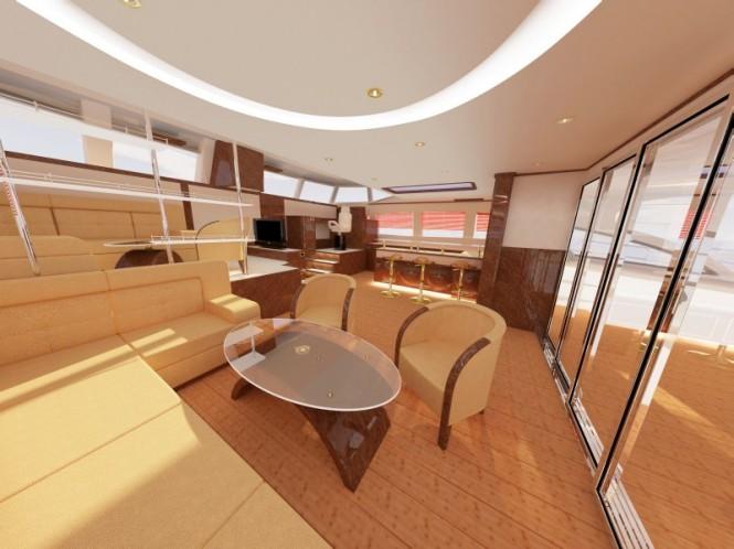 Catamaran yacht Sunreef 82 saloon lounge