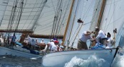 sailing yacht DORADE performing close by schooner ELENA in the 2012 Antigua Classic Yacht Regatta - Photo credit Tim Wright - photoaction