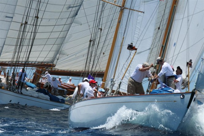 DORADE performing close by schooner ELENA in the 2012 Antigua Classic Yacht Regatta - Photo credit Tim Wright - photoaction