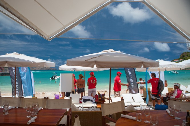 Down time at Nikki Beach for the competitors at Les Voiles de St. Barth