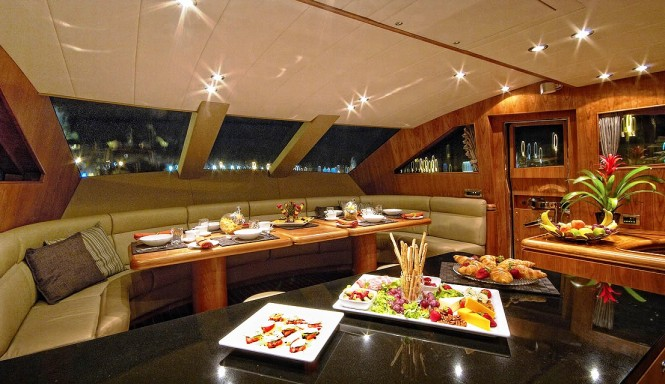 Enjoy a lovely breakfast aboard luxury yacht ANNABEL II