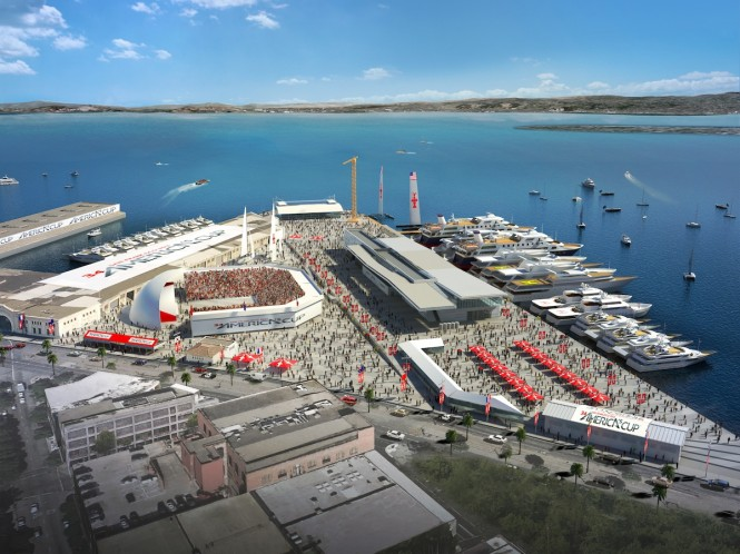 Construction at Pier 27 for Spectator Village Begins with Mayoral Welcome, Crowds, Digital Sailing Competition - Image  courtesy of the 34th America's Cup