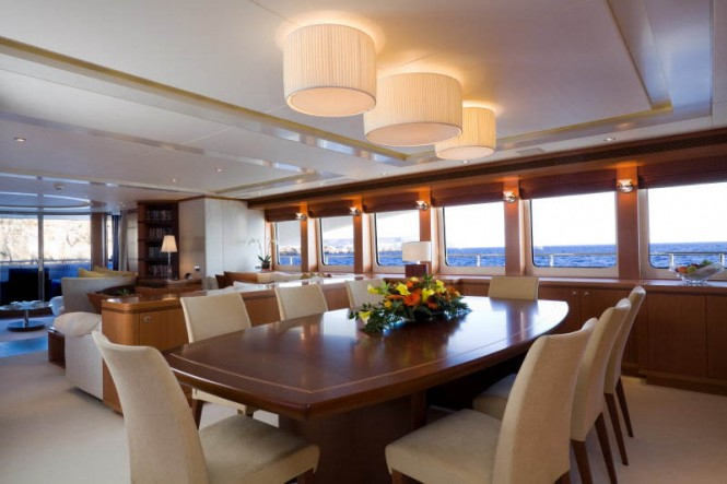 Interior of the Superyacht Petra - sistership to yacht Bernardo