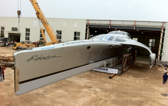 John Shuttleworth Yacht Designs trimaran Adastra ready for sea trials at McConaghy yard