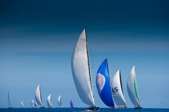 Les Voiles de Saint-Barth 2012 - Fleet racing downwind © Christophe Jouany