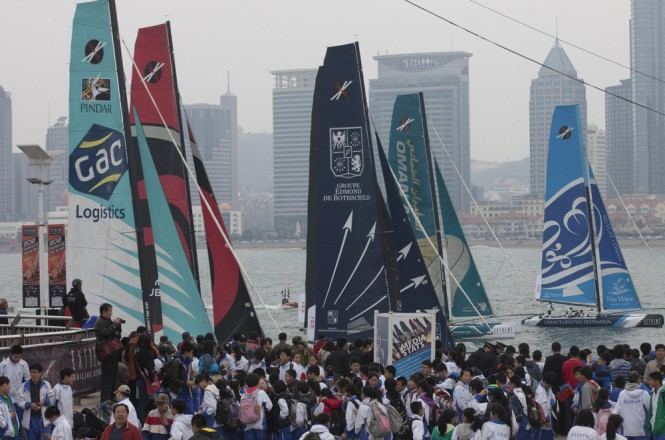 Local fans brave the rain to get a chance to watch the Extreme-40s racing on the final day in Qingdao