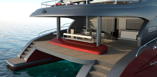 Luxurious exterior aboard the 60 Sunreef Power Yacht