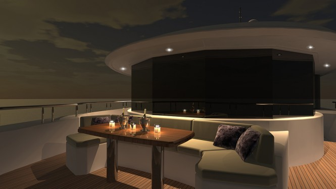 Luxurious exterior aboard the superyacht Ocean Alexander 120