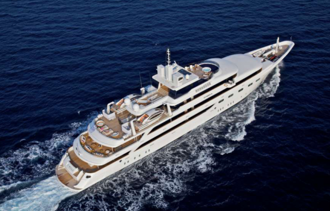 Luxury Motor Yacht O'Mega from above