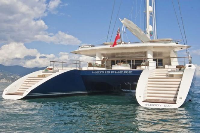 yacht charter aboard world u2019s largest catamaran hemisphere as prize in christie u2019s  u201cbid to save