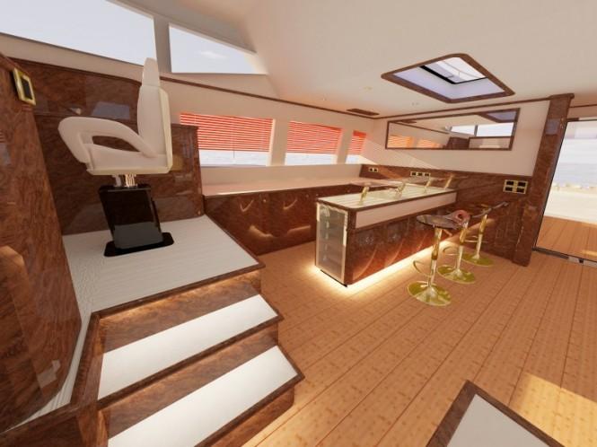 Luxury yacht Sunreef 82 helm station