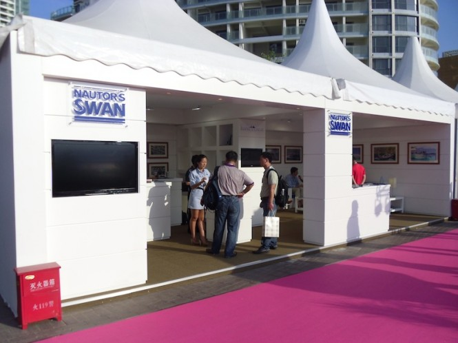 Nautor's Swan at the Hainan Rendez-Vous presenting its full portfolio of products and services (c) Nautor's Swan