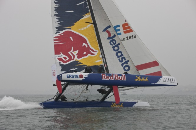 Red Bull Sailing Team flies a hull on day 4 - the final day of racing in Qingdao - Image credit Lloyds Images