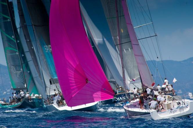 Sailing yachts racing at Les Voiles de St barth Credit Christophe Jouany
