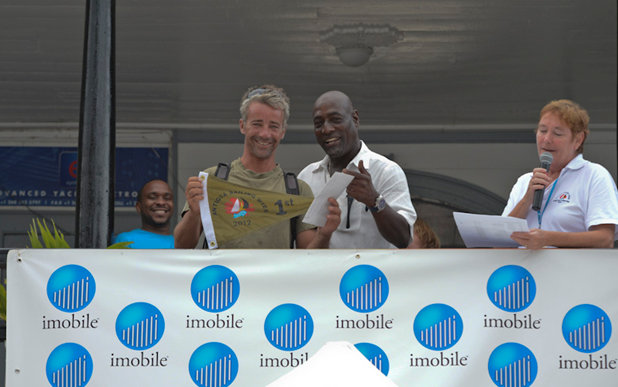 imobile ambassador, the legendary Sir Vivian Richards helps make Antigua Sailing Week a memorable occasion for competitors at today's prizegiving Credit: Ted Martin/photofantasyantigua.com