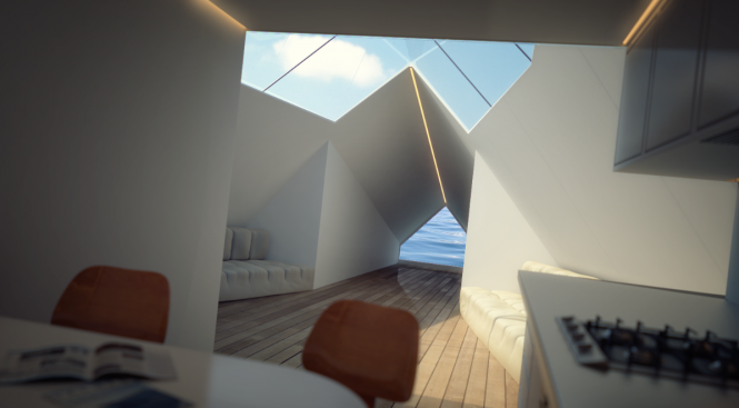 Striking interior of the motor yacht Archimedean by Innovation Imperative