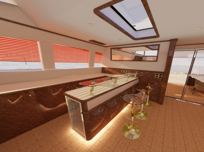 Superyacht Sunreef 82 bar in saloon