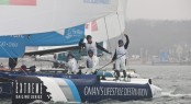 The Wave, Muscat celebrating at the end of racing on the final day of Act 2 Qingdao - Photo Lloyds Images