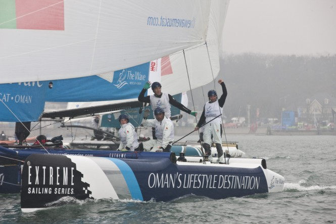 The Wave, Muscat celebrating at the end of racing on the final day of Act 2