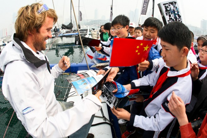 The Wave, Muscat's Leigh McMillan meeting local Qingdao children