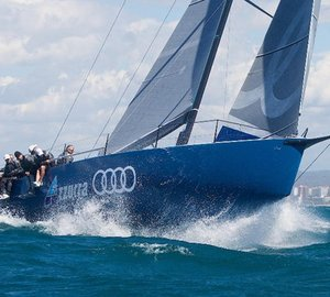 The new Audi Azzurra Sailing Team TP52 yacht making her debut at the Mapfre Palma Vela