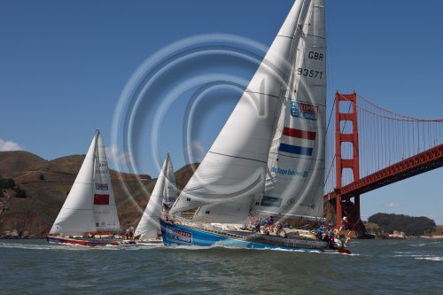 the ten powerful fleet racing in the Clipper Round the World Yacht Race in San Francisco Bay