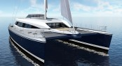 100ft catamaran yacht Q5 (hull YD66) Bow Side