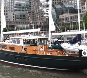 110ft Palmer Johnson sailing yacht Keewaydin has arrived at Dennis Conner's North Cove