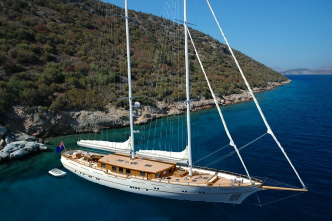 40m Archipelago modern classic sailing yacht ZanZiba at anchor