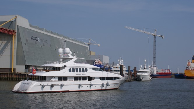 41m Heesen charter yacht Seven Sins arriving at Icon Yachts