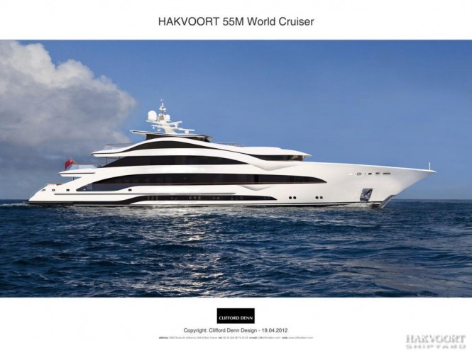 55m Hakvoort superyacht - side view
