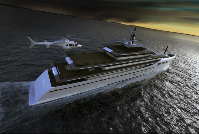 85m motor yacht Liquid designed by Vripack
