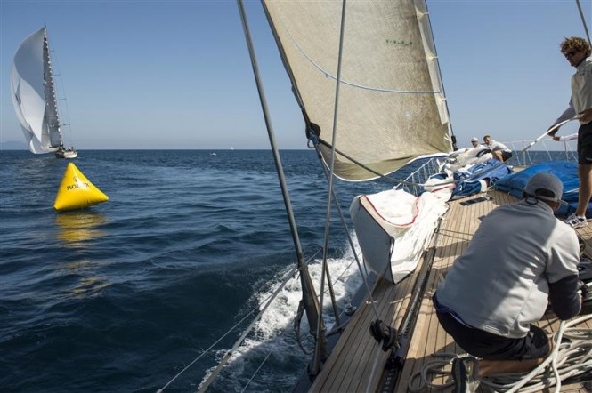 Action onboard luxury yacht Nilaya during windward-leeward race Photo RolexKurt Arrigo