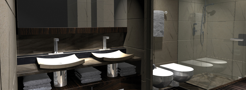 Bathroom - superyacht AGAT - Image courtesy of her designer H2