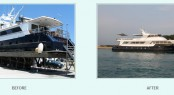 Broward charter yacht Nymphaea (ex Legacy) before and after refit