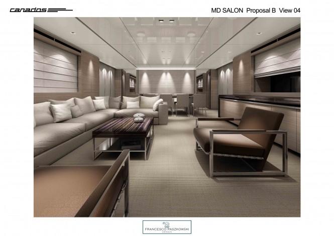 CANADOS 120 superyacht Saloon in grey wood