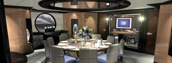 Dining aboard AGAT yacht - Image courtesy of her designer H2 Yacht Design